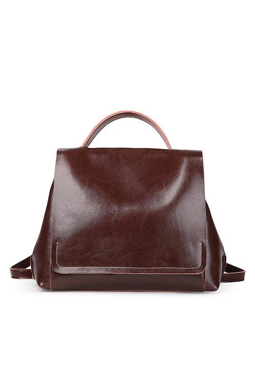 Leather Large Lady Messenger Backpack