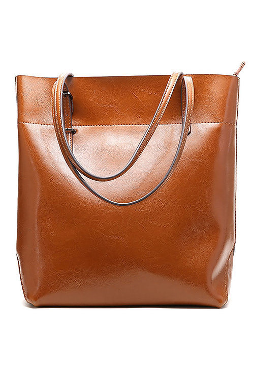 Large Simple Leather Tote