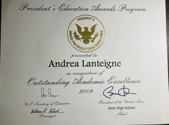 President's Award Certificate