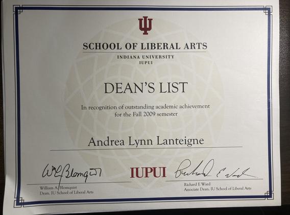IUPUI Dean's List Fall 2009