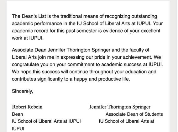 IUPUI Dean's List Spring 2020
