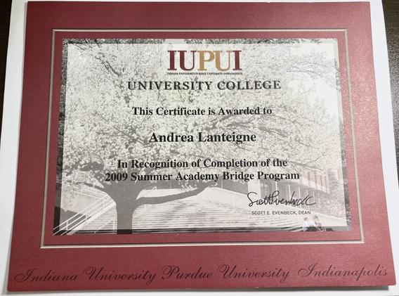 IUPUI 2009 Summer Academy Bridge Program Certificate