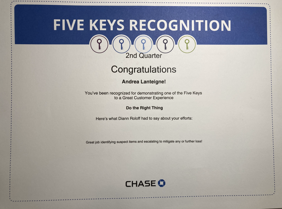 Do the Right Thing- Chase 5 Key Award