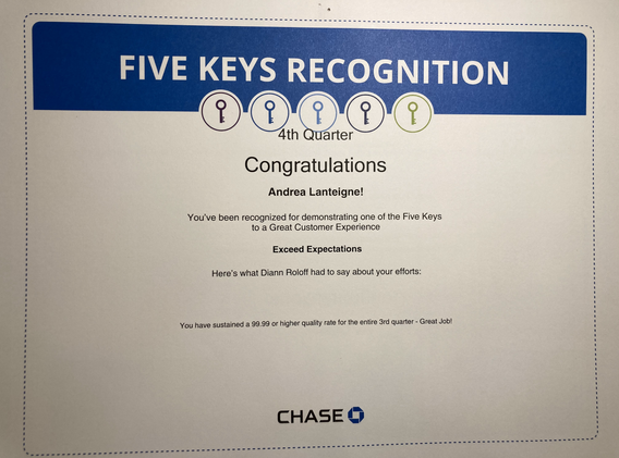 Exceed Expectations- Chase 5 Key Award