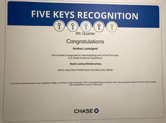 Build Lasting Relationships- Chase 5 Key Award