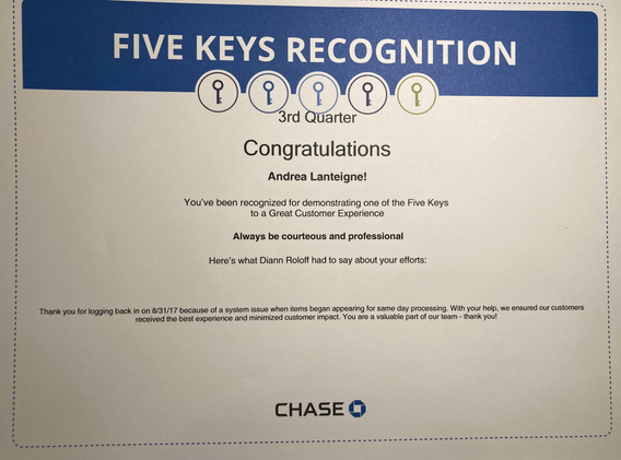 Always be Courteous and Professional- Chase 5 Key Award