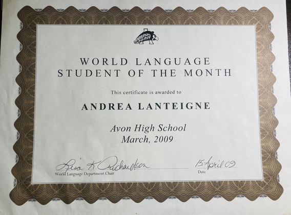 World Language Student of the Month