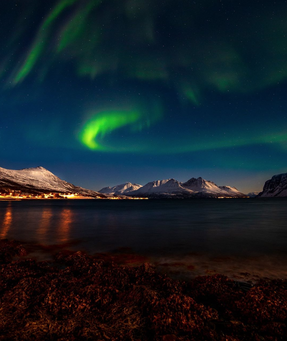 Aurora borealis in the Bay Of Uløya  Pho