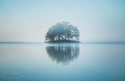 Morning fog over Jonsvatnet lake