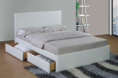 Nantes Upholstered PU Double Bed with Drawers