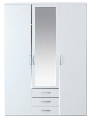 London Mirrored Wardrobe 3 doors 3 drawers
