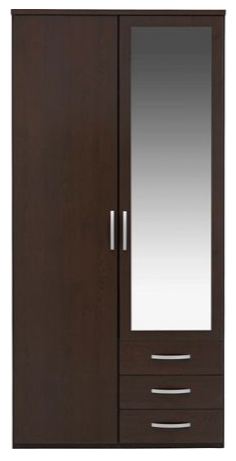 London Mirrored Wardrobe 2 doors 3 drawers
