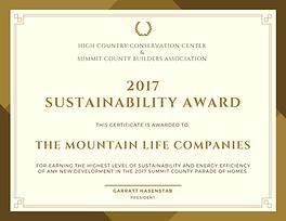 Moutain Life Companies | 2017 Susainabilty Award Winner