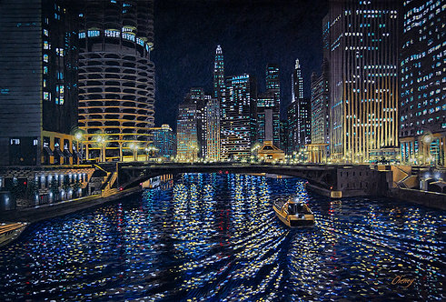Chicago River Impression at Dearborn Street Bridge