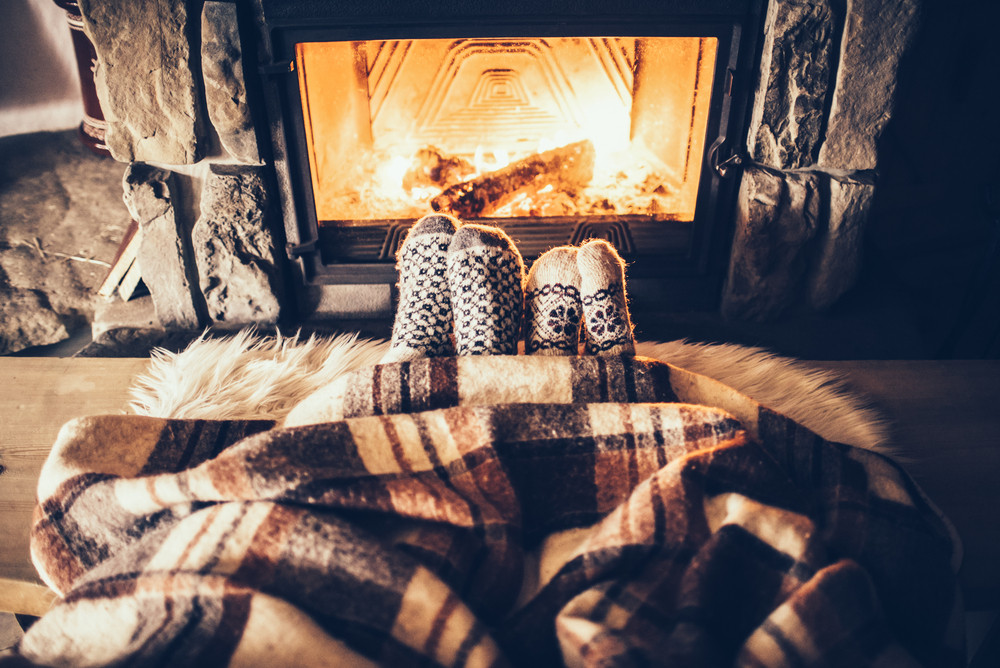 hygge fireplace socks blanket
