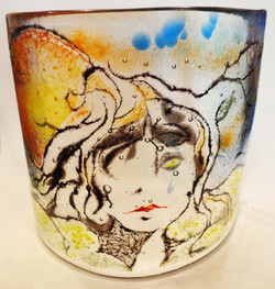 painted on glass candle screen