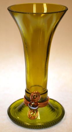 short amber candle holder