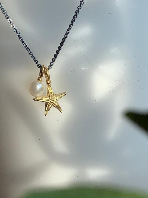 Seestern kuschelt mit Perle