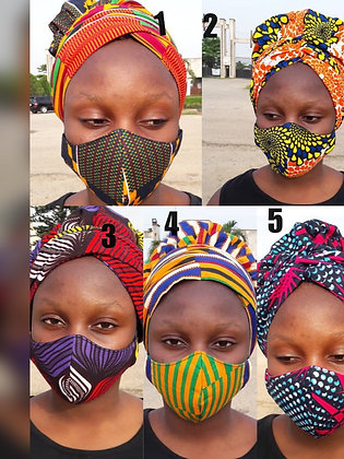 Sweet pie bonnet wrap/mask sets