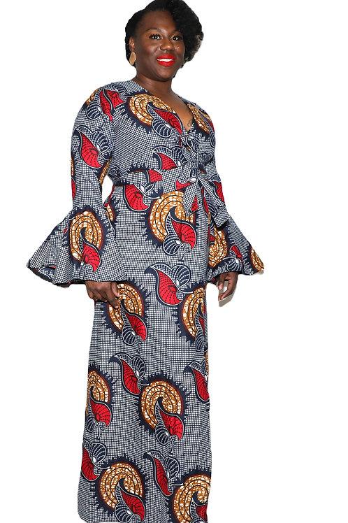 ATINUKE long bell sleeve wrap dress