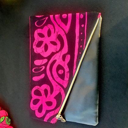 Pink mud cloth folded clutch