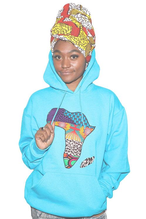 Teal unisex Africa Hoodie