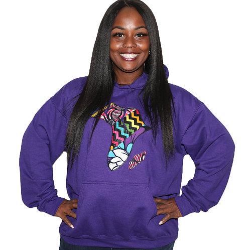 Purple Unisex Africa Hoodies