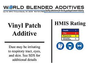 Vinyl patch cement addiives