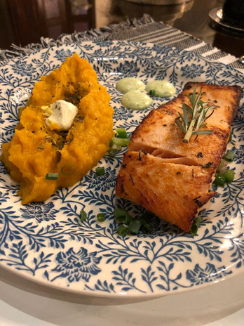 Salmon and pumpkin puree