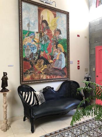 Lobby and art piece