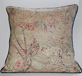Cream secret garden print Cushion Cover
