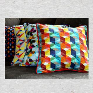 Geometric print Linen pillow cover