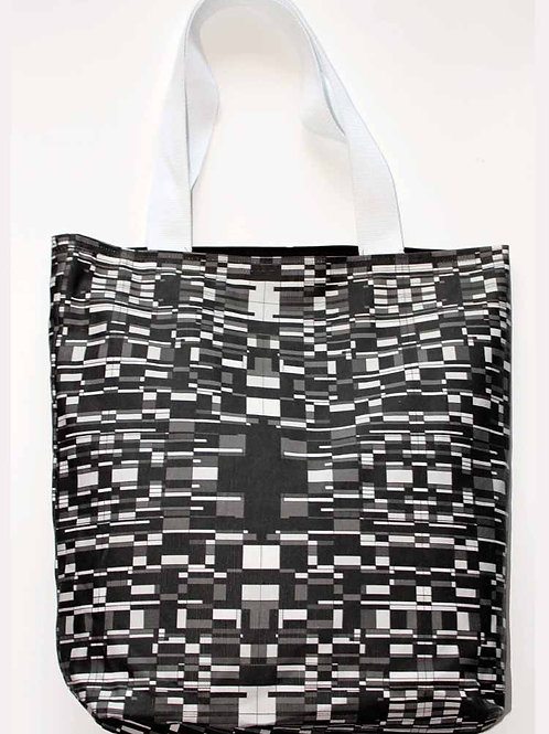 Black and white print canvas tote bag large