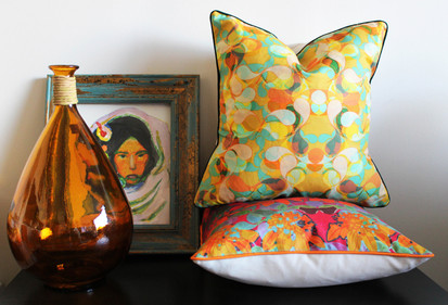 Printed canvas cushion covers