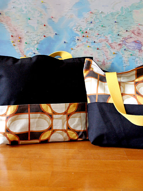 Yellow tiles printed canvas tote bag large