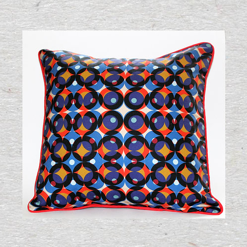 Multi colour circle Linen cushion cover