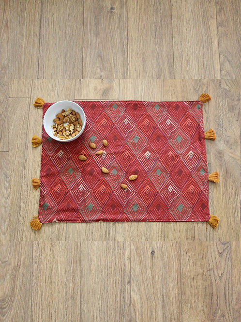 Maroon Mudcloth Placemat - Set of 4