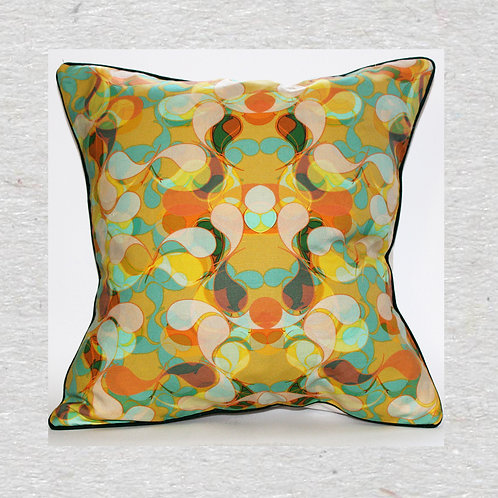 Yellow paisley Linen cushion cover