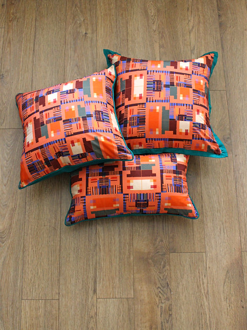 Orange Kente cushion cover