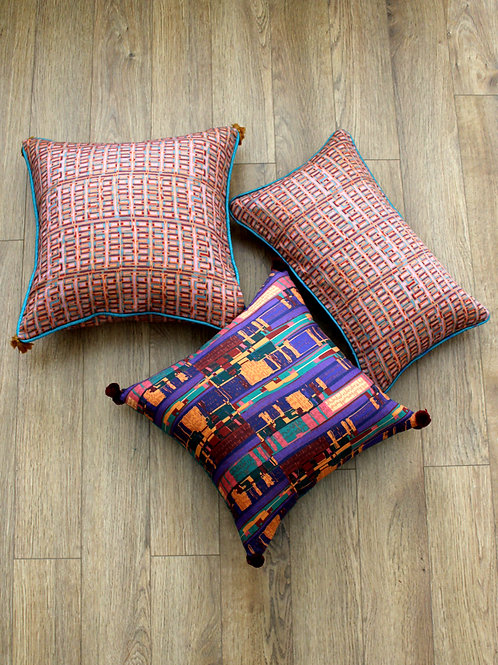 Pink Tcaka print cushion cover