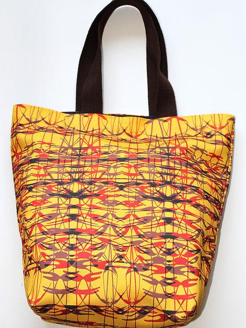 Yellow twig printed mini tote bag
