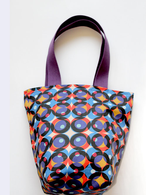 Multi colour circle print mini tote bag