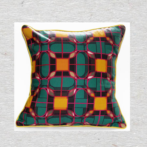 Green Ornate Tiles Linen Cushion cover