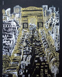 Champs-Élysées - Metallic pen sketch