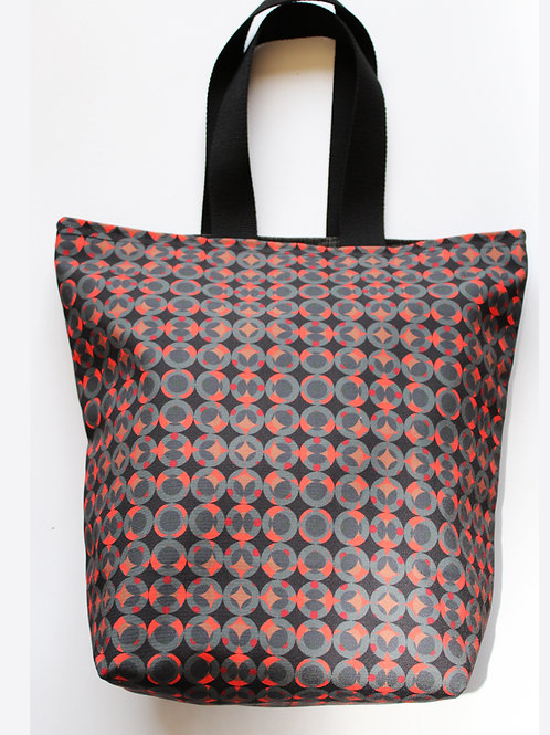 Black and red circle printed mini tote bag