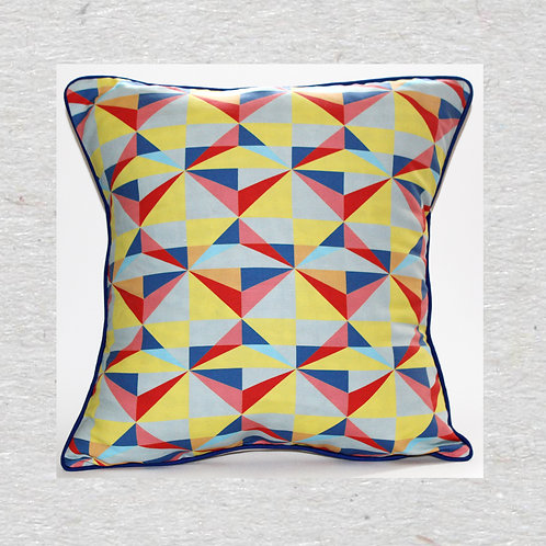 Neon facets Linen cushion cover