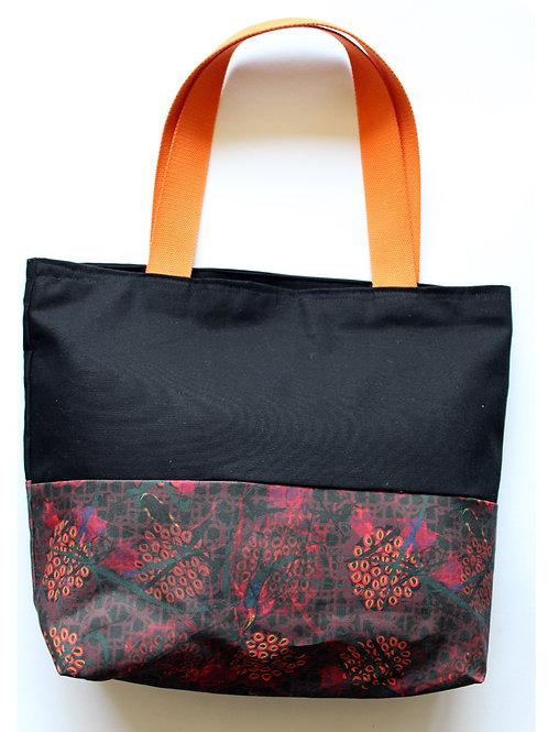 Noir secret garden printed tote bag large