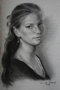 self portrait charcoal on paper