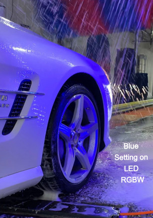 LED Lights on BLUE Setting in Car Wash
