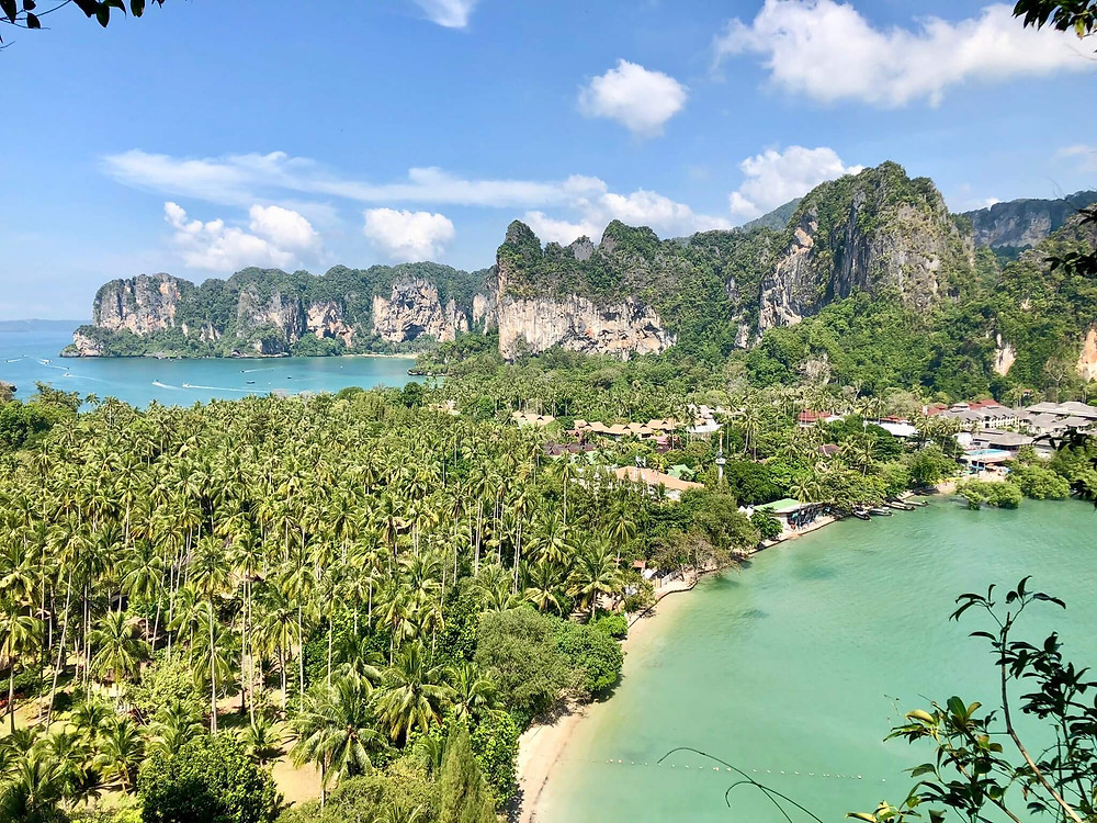 View of a tropical island in Thailand with sandy beaches and turqoise water
